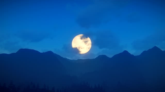 fly over mountain ridge with full moon - full moon stock videos & royalty-free footage