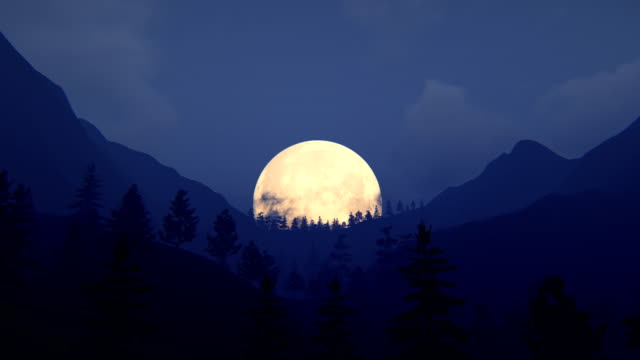 fly over mountain ridge with full moon - majestic stock videos & royalty-free footage