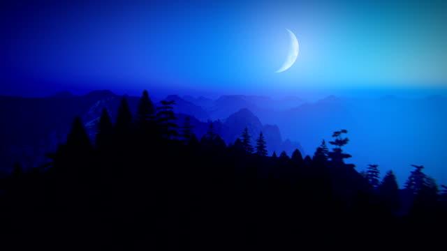 vídeos y material grabado en eventos de stock de volar sobre montañas por la noche - azul oscuro