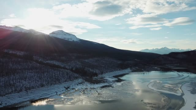 fly over mountains in winter - anchorage alaska stock videos & royalty-free footage