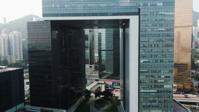 fly through hong kong headquarter of government - government building stock videos & royalty-free footage