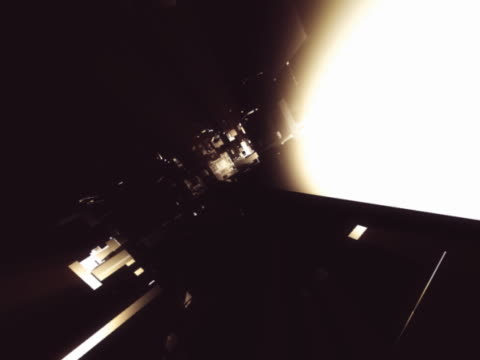 vídeos de stock e filmes b-roll de fly through into shadowy geometric shapes - alto contraste