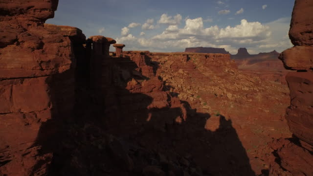 Fly through towering rock formations at Cannyonlands National Park Utah