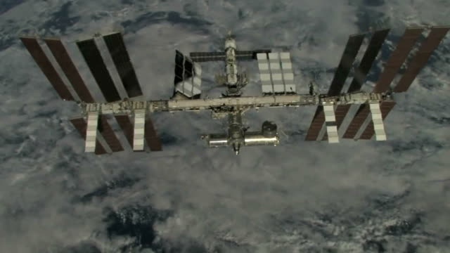 Flyaround of the International Space Station by Space Shuttle Discovery during mission STS-119, in March 2009