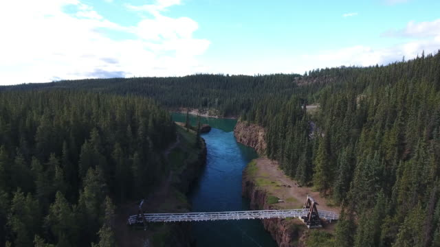 fly-by of miles canyon - whitehorse stock videos and b-roll footage