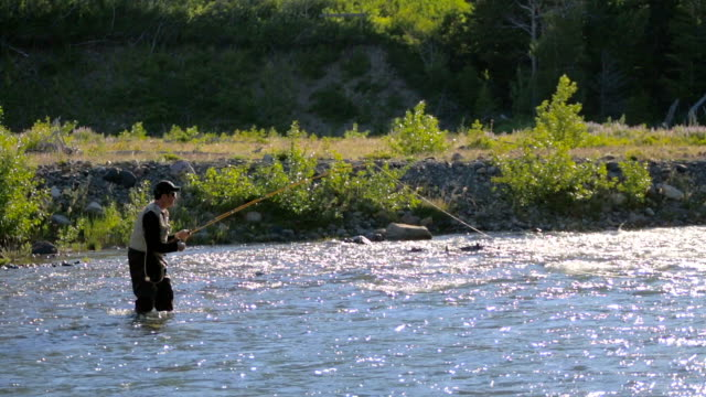 vidéos et rushes de pêche à la mouche dans la rivière - lancer la ligne de canne à pêche