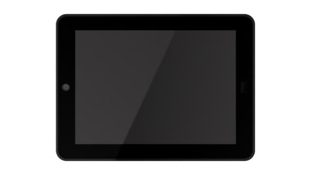 Fly-in animations of a tablet with alpha channel. White version