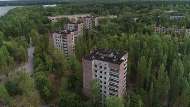 flying a drone over pripyat - nuclear reactor stock videos & royalty-free footage