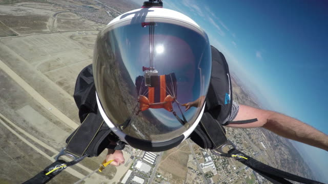 Flying a parachute - Helmet Reflection With Visible GoPro