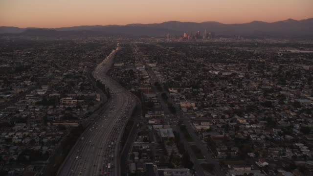 Flying above a major Los Angeles thoroughfare in evening light. Shot in October 2010.