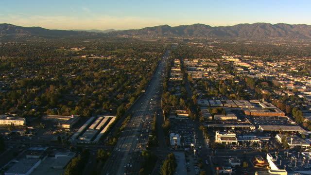 Flying above freeway in San Fernando Valley, California. Shot in 2008.