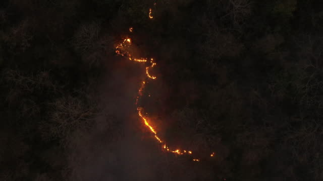 flying above of wildfire in night time - climate change stock videos & royalty-free footage