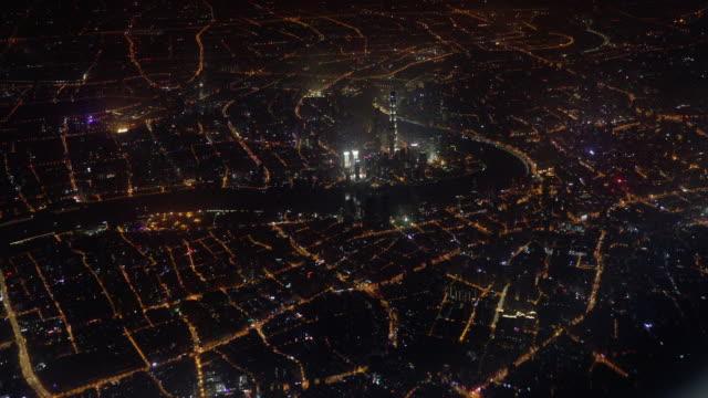 Flying above Shanghai Bund at night