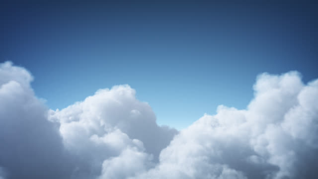 vídeos de stock e filmes b-roll de flying above the clouds (day, forward) - loop - paisagem com nuvens