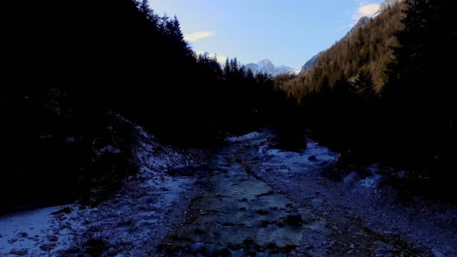 AERIAL Flying above the river in Julian Alps
