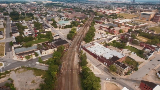 Flying above the streets of Baltimore, Maryland, United States