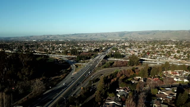 flying above urban northern california - northern california stock videos & royalty-free footage