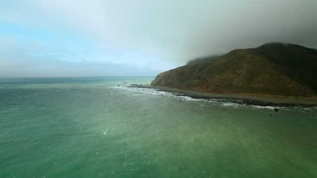 flying along punta gorda area of california's lost coast. - nordkalifornien stock-videos und b-roll-filmmaterial