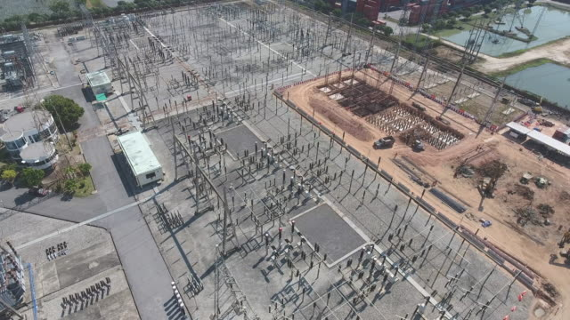 Flying around  High Voltage Power Station, Electrical Substation, Aerial View
