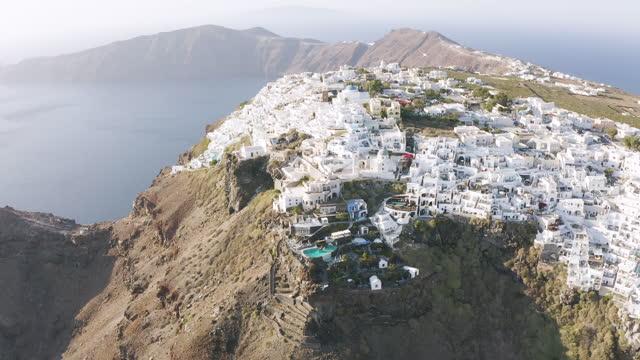 flying around imerovigli in santorini, greece - cyclades islands stock videos & royalty-free footage