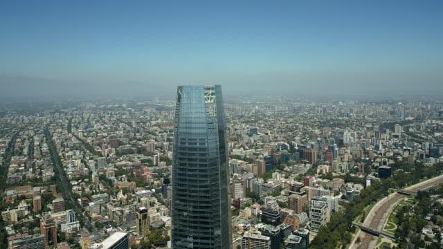 flying around the gran torre santiago - southern hemisphere stock videos & royalty-free footage