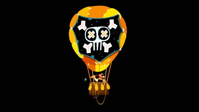 flying balloon, zeppelin, skull - skeleton sled stock videos and b-roll footage