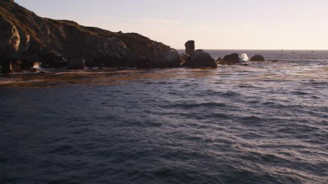 vídeos de stock, filmes e b-roll de flying close over rocks along the catalina coast. shot in 2010. - ilhas channel