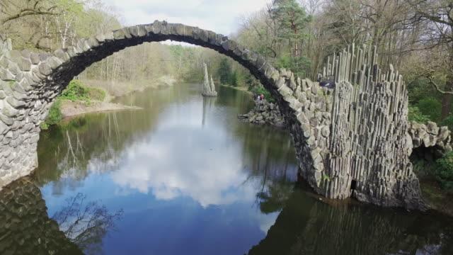 Flying close to Rakotzbrücke, a Devils bridge in Germany