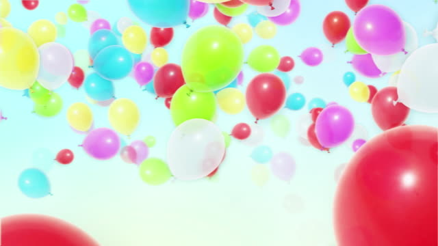 flying colorful balloons - balloon stock videos and b-roll footage
