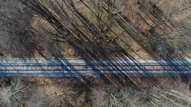 vídeos de stock e filmes b-roll de flying directly above railroad tracks thru forest - via férrea