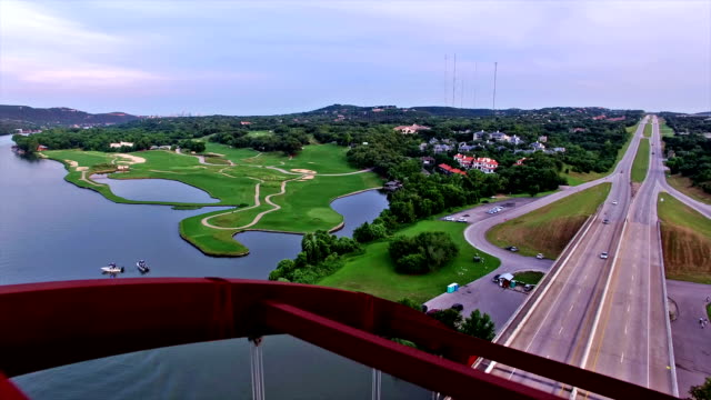 Flying directly over Pennybacker Bridge of Austin , Texas