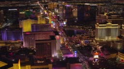 Flying directly over the Las Vegas Strip.