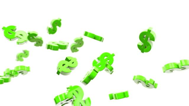 flying dollar symbols animation - green (full hd) - illustration stock videos & royalty-free footage