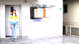 Flying drone delivers postal package