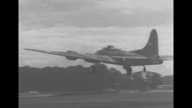 flying fortress airplanes move on airstrip, take off, fly past clouds, fly low over ground, fly in formation / b-17 comes in for landing / usaaf... - airfield stock videos & royalty-free footage