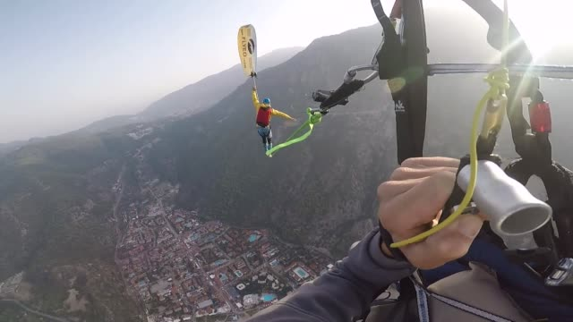 flying frenchies perform at the 19th international fethiye oludeniz air games festival on october 19 2018 in fethiye district of turkey's... - mugla province stock videos and b-roll footage