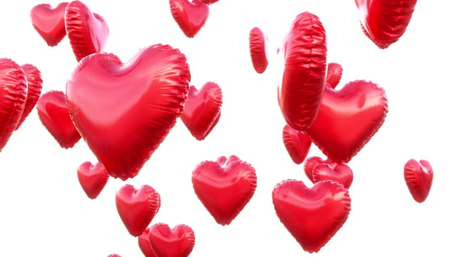 flying heart balloons white background - balloon stock videos and b-roll footage