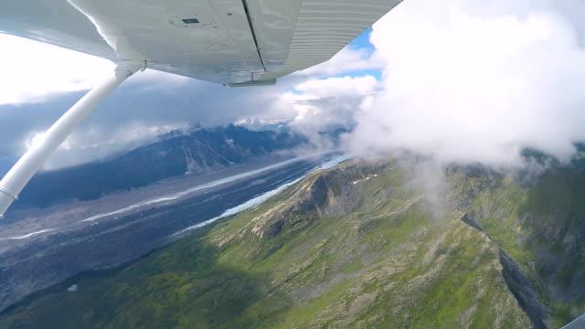 flying in seaplane, mount denali or mount mckinley, alaska, usa. - denali national park stock videos & royalty-free footage