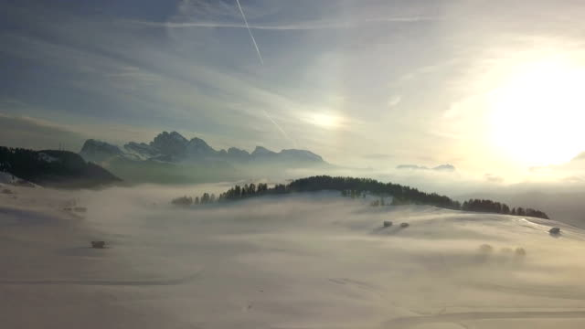flying in seiser alm at sunrise - pjphoto69 stock videos & royalty-free footage