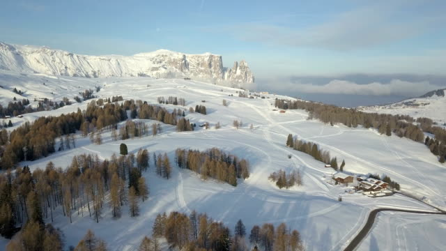 Flying in Seiser Alm at sunrise