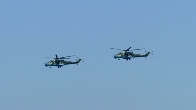 Flying in the sky military helicopters