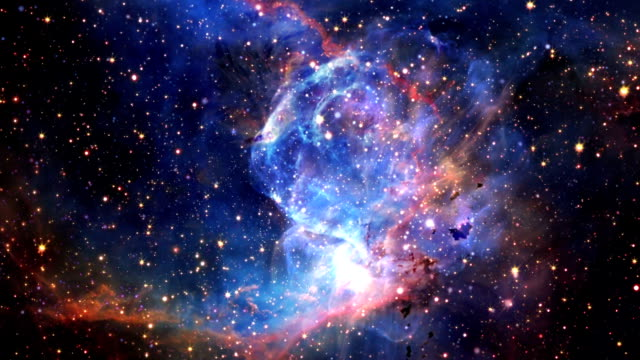 flying into a beautiful nebula animation - space stock videos & royalty-free footage