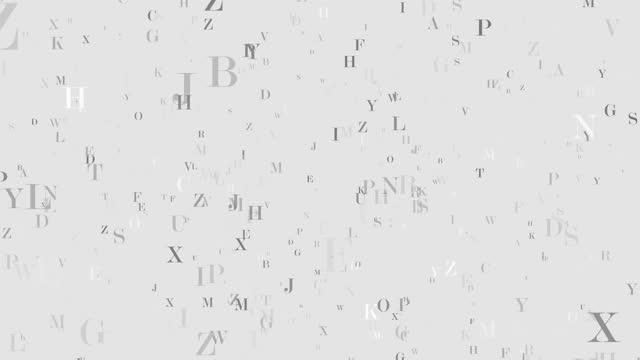 vidéos et rushes de flying letters animation boucle 4k - littérature