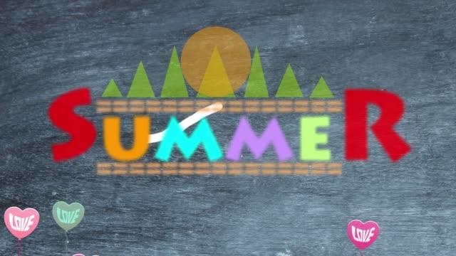 Flying Love in Summer over Blackboard