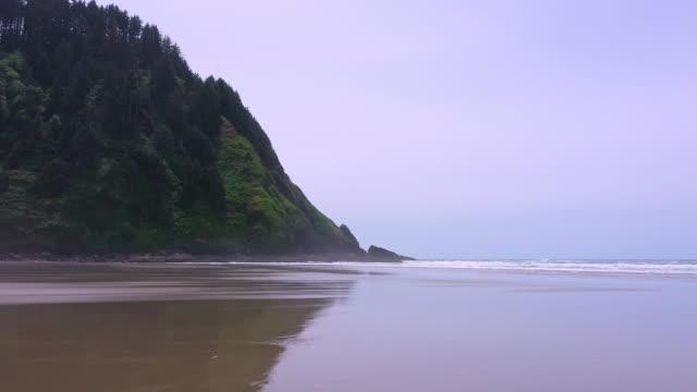 flying low over hobbit beach on the oregon coast - heceta head stock videos & royalty-free footage