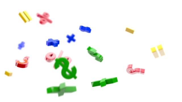 フライング数学記号の背景ループ主色(フル HD