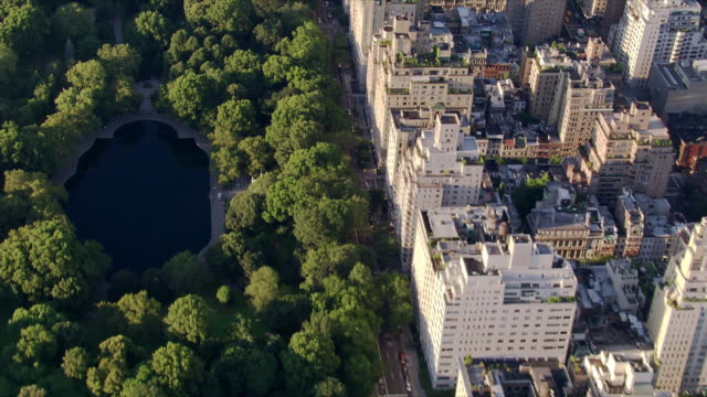 flying north over central park along fifth avenue. shot in 2006. - central park manhattan stock videos and b-roll footage