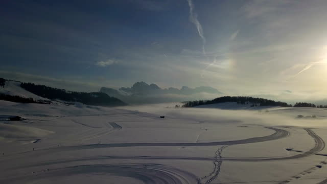 Flying on Seiser Alm at sunrise