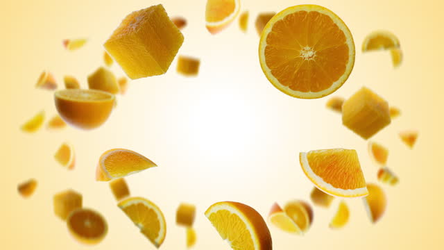 flying orange fruit pieces rotating in slow motion with alpha channel - citrus fruit stock videos & royalty-free footage