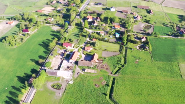 Flying over a small village